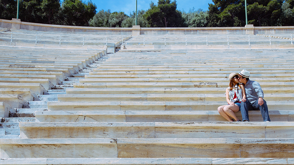 DIY Wedding Photoshoot, Panathenaic Stadium, Athens, Greece. www.theweddingnotebook.com