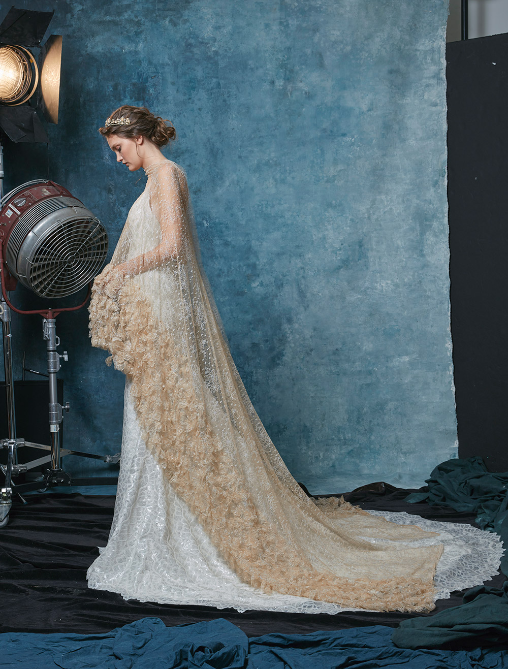 Charlize with Cape - Sareh Nouri Fall 2019 Bridal Collection. www.theweddingnotebook.com