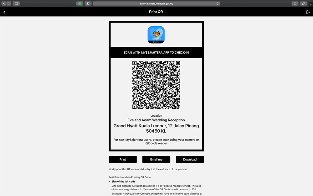 Create your MySejahtera Check-In QR Code Tutorial for your wedding. www.theweddingnotebook.com