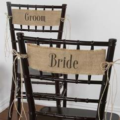 Burlap Chair Covers For Folding Chairs White Plastic Adirondack Sashes Banners Bride And Groom With Jute Cord Ties