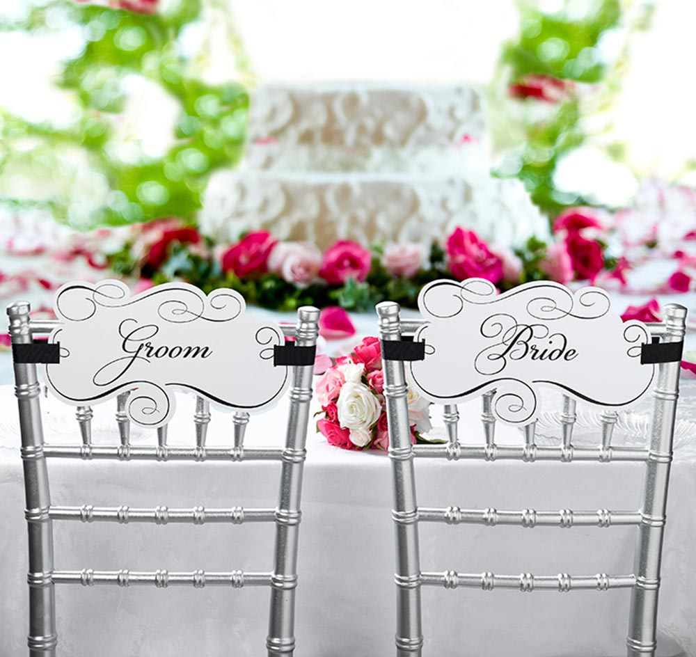 wedding bride and groom chairs chair design ergonomics signs sashes
