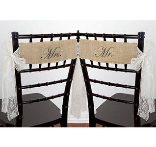 burlap chair covers ideas pewter sashes banners mr and mrs with lace ties