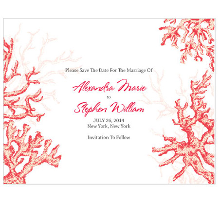 Reef Coral Save The Date Card Save The Date Cards