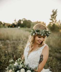 fresh look design bride wearing a flower crown
