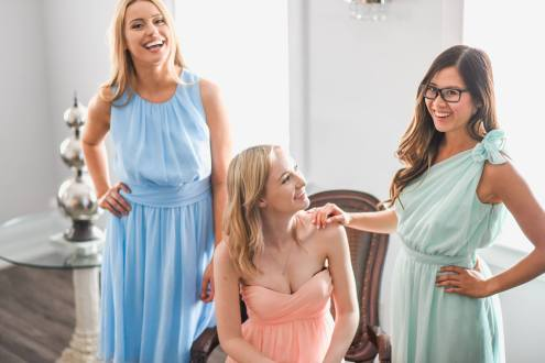bridesmade pastel blue, green and peach bridesmaid dresses