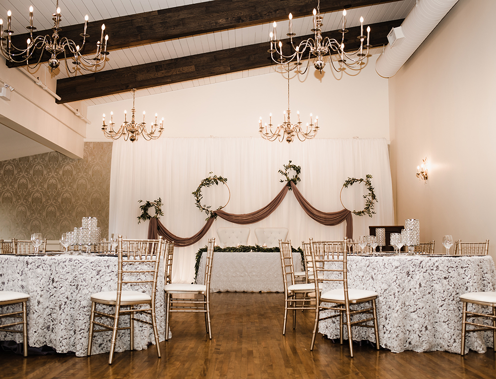 Devine wedding design decor in Stratford country club ballroom
