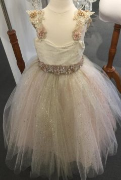 creme couture flowergirl dress with pink sparkle belt