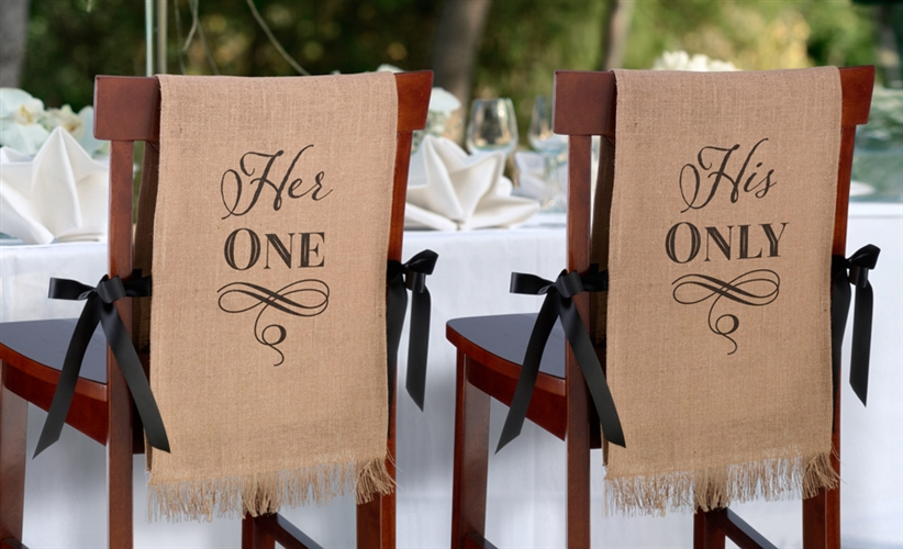 burlap chair covers for sale ergonomic under 200 her one his only on at the wedding larger photo