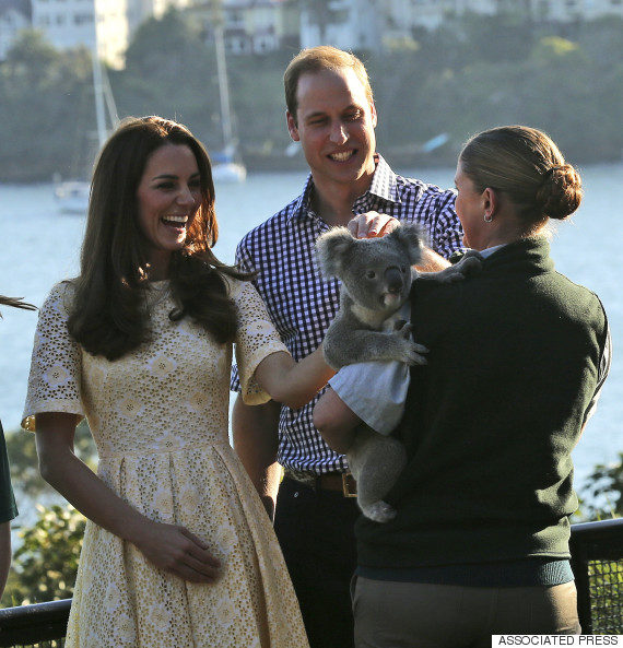 His Royal Highnesses Prince William, back, and wife Kate, Duchess of Cambridge, meet Leuca the Koala held by keeper Lucinda Cveticanin during a wildlife show while on a visit to Taronga Zoo in Sydney, Australia, Sunday, April 20, 2014. The Duke and Duchess of Cambridge are on a three-week tour of Australia and New Zealand, the first official trip overseas with their son, Prince George.(AP Photo/Rob Griffith)