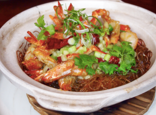 Claypot Prawn with Ginger, Scallion and Dried Chilli - Signatures Lunch Set VLV Restaurant