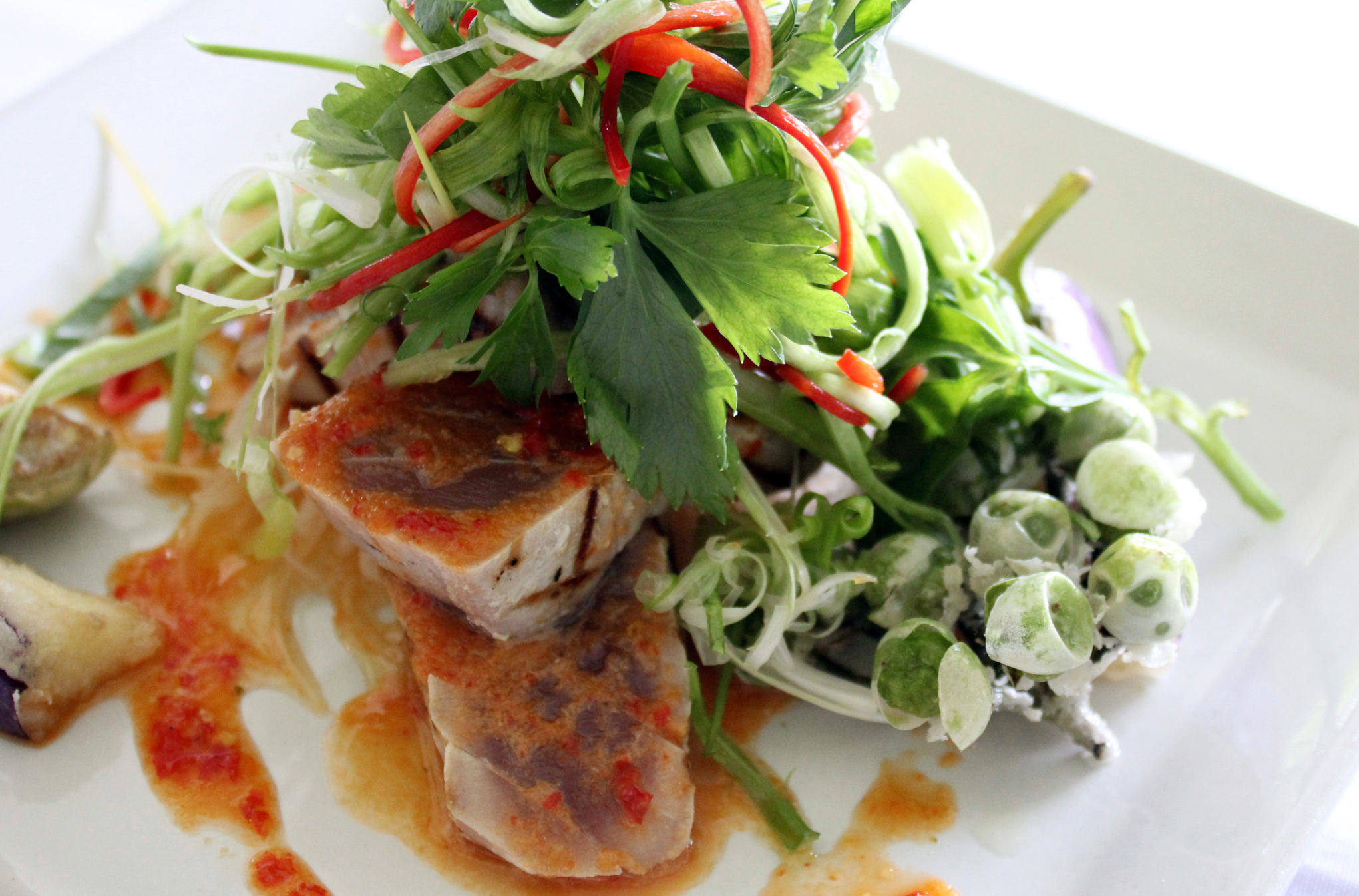 Tamarind Hill Restaurant - Grilled Tuna Loin and White Radish with Lime and Chilli Vinaigrette