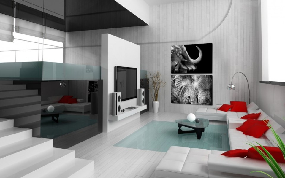 monochrome art painting home