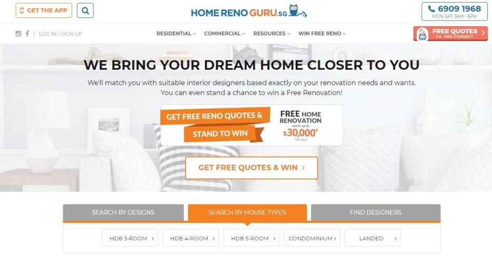 home renovation websites singapore HomeRenoGuru