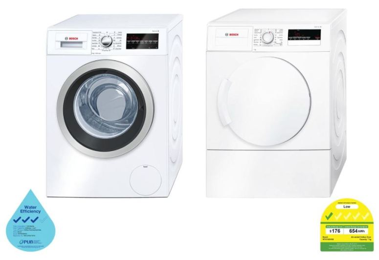 Bosch Combo: 9kg Front Load Washer WAP28480SG + 7kg Front Load Vented WTA74201SG