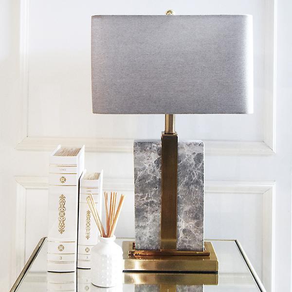 Aurelien Gold & Grey Marble Table Lamp