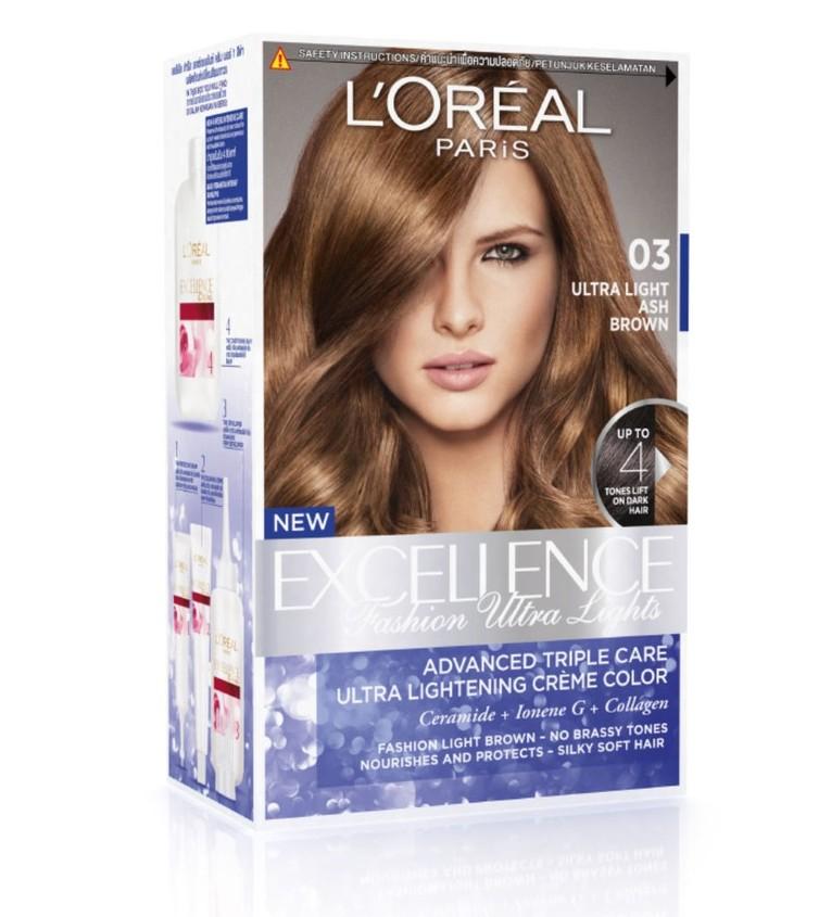 L'Oreal Paris Excellence Fashion Ultra Light Ash Brown cat rambut coklat yang bagus