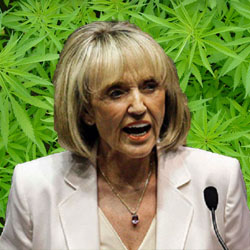 Jan Brewer marijuana leaves