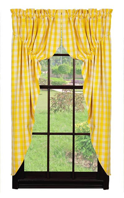 Picnic Yellow Check Prairie Curtain The Weed Patch