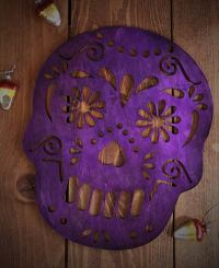 Purple Sugar Skull Wall Decor, by Our Backyard Studio in ...