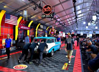 The Mecum Auctions staging area at the recent auction in Monterey, California.
