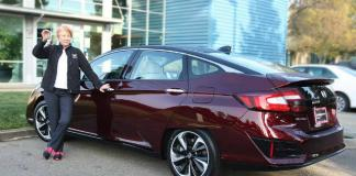Chris White of the California Fuel Cell Partnership drives as Honda Clarity Fuel Cell.