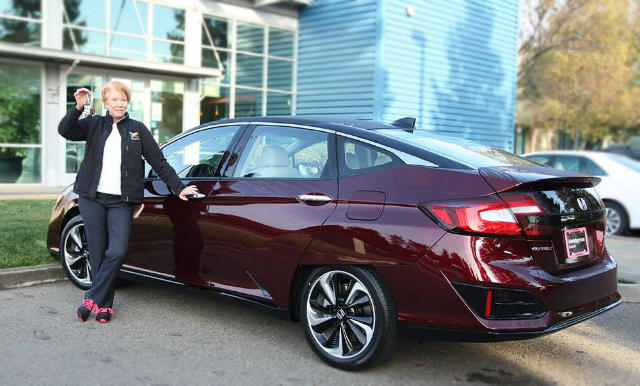 Chris White drives a Honda Clarity Fuel Cell. It operates on hydrogen and has a 366-mile range.