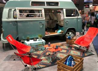 A 1976 Volkswagen Bus was used as part of the display for Helinox during Outdoor Retailer Summer Market in Denver.