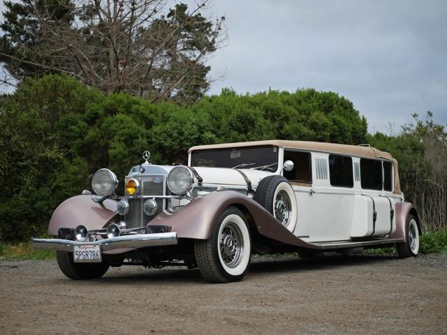 A Mercedes-Benz limousine available for rent from Monterey Touring Vehicles.