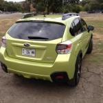 The 2014 Subaru XV Crosstrek Hybrid has a sporty exterior design.