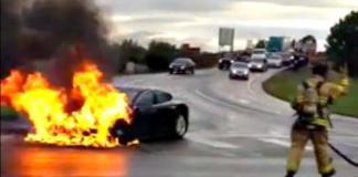 The Tesla Model S burning in Kent, Washington.