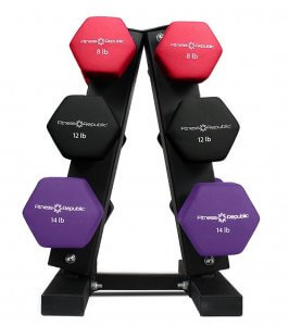 Fitness Republic Steel Dumbbell Rack with Neoprene Dumbbells