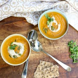 Roasted Carrot Soup with Cashew Cream