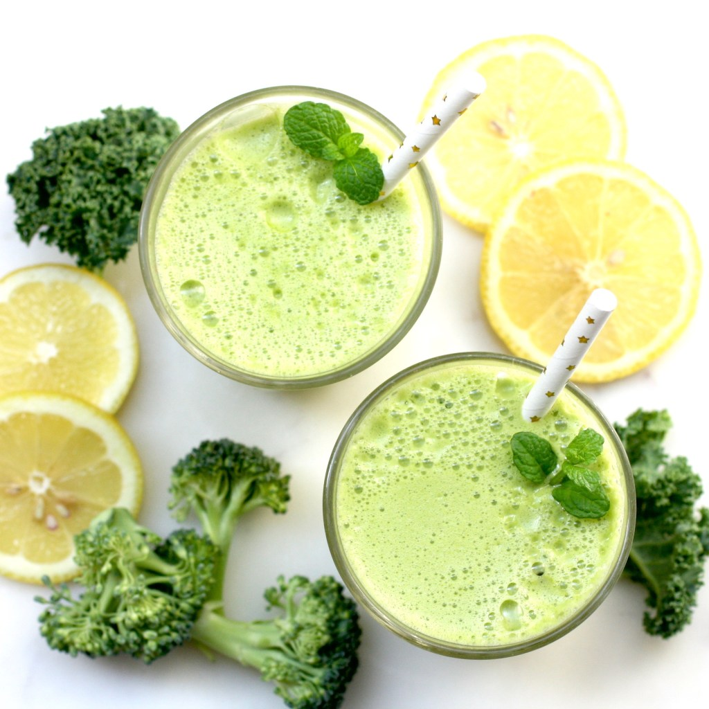 vitality juice with kale, cucumber, apple, mint, ginger, broccoli
