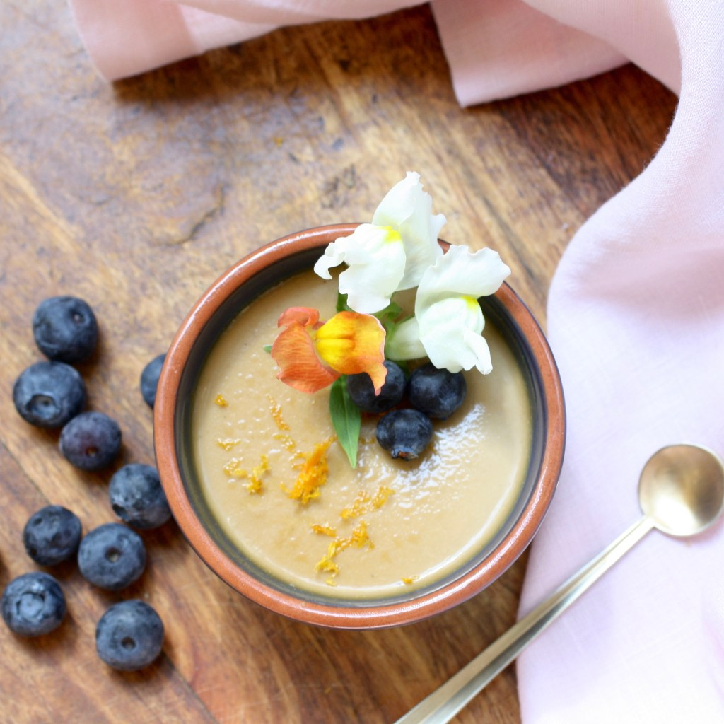 Orange Possett with Vanilla and Blueberries