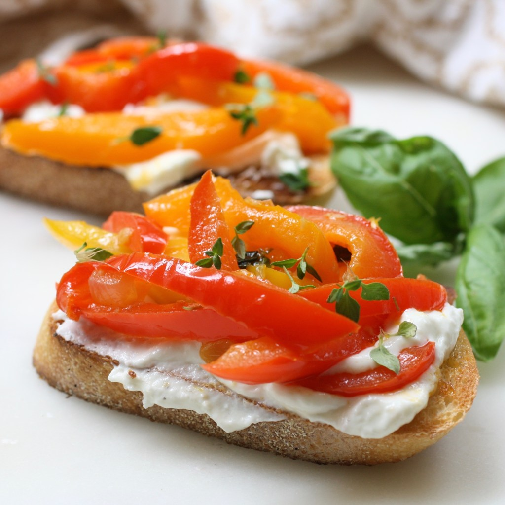 Bruschetta with whipped feta and peppers