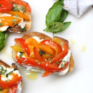 Bruschetta with Whipped Goat's Cheese and Peppers