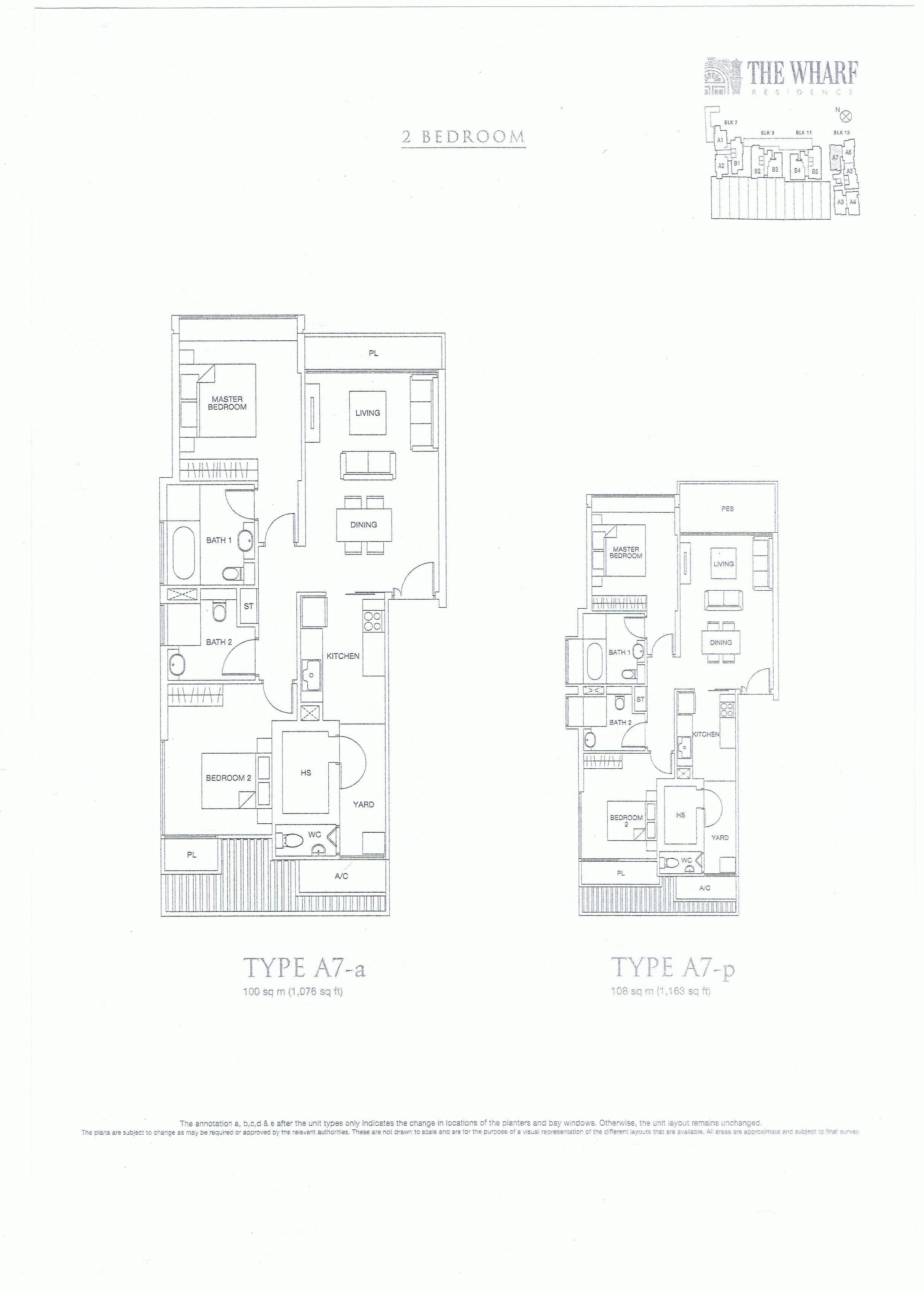 The Wharf Residence 2 Bedroom Floor Plans Type A7-a, A7-p