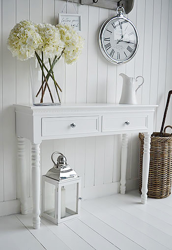New England White Console Table With Drawers And Silver