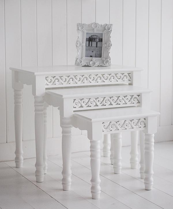 White nest of tables  The White Lighthouse Living Room