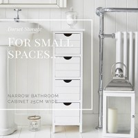 Dorset 25cm wide narrow white bathroom storage furnitue ...