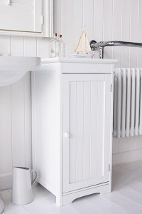 White Freestanding Bathroom Storage with knob handle Cabinet