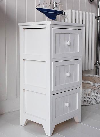 Maine Slim Freestanding Bathroom Cabinet with 3 drawers