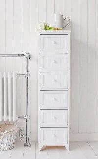 Maine Narrow tall Freestanding Bathroom Cabinet with 6 ...