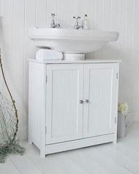 White Undersink Bathroom Storage with knob handle Cabinet