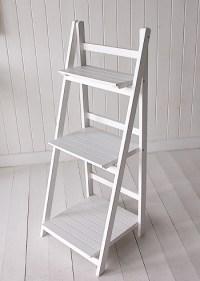 White freestanding bathroom shelves