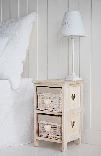 Extra small bedside table with drawers 25cm The White