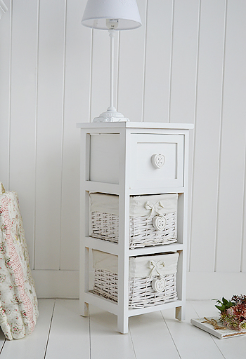 White Narrow Bedside Table With Drawers 25cm Wide