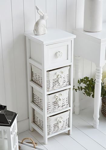 White Narrow storage with drawers 23cm White Sweetheart