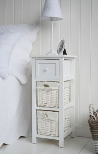 Bar Harbor narrow white bedside table 25cm wide. The White ...