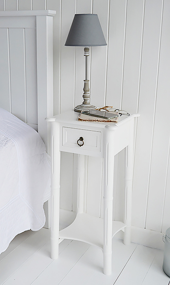 New England white bedside table with drawerThe White